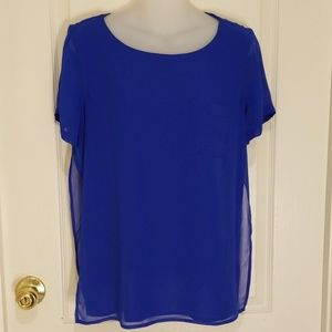 Blue Calvin Klein layered blouse, size M